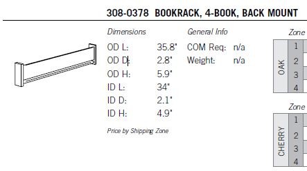 Sauder Catalog, Item 308-0378, Bookrack, 4-Book